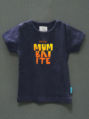 Mini Mumbaiite Navy Cotton T-Shirt
