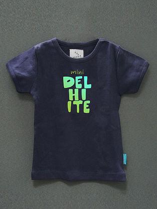 Mini Delhiite Navy Cotton T-Shirt