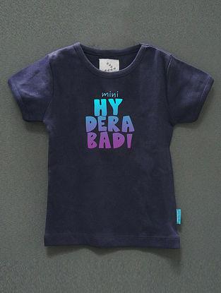 Mini Hyderabadi Navy Cotton T-Shirt