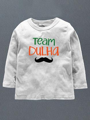 Team Dulha White Cotton T-Shirt