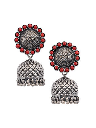 Tribal Silver Jhumki Earrings with Coral