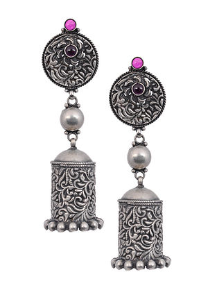 Maroon Tribal Silver Jhumki Earrings