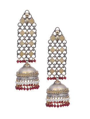 Red Dual Tone Silver Jhumki Earrings with Pearls
