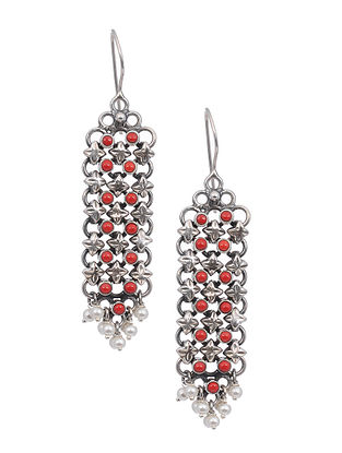 Tribal Silver Earrings with Coral and Pearls