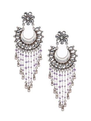 Purple Tribal Silver Earrings