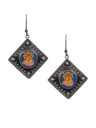Multicolored Handpainted Tribal Silver Earrings