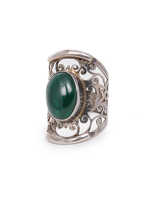 Green Tribal Silver Ring (Ring Size: 6)