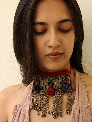 Maroon Blue Silver Tone Vintage Handcrafted Necklace