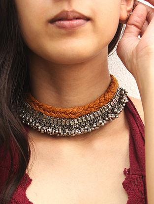 Mustard Silver Tone Vintage Handcrafted Necklace