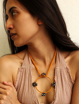 Yellow Silver Tone Handcrafted Necklace With Ghungroo