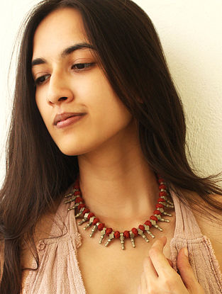 Red Gold Tone Vintage Handcrafted Necklace