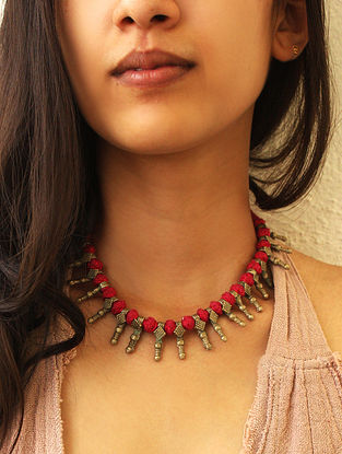 Maroon Gold Tone Vintage Handcrafted Necklace