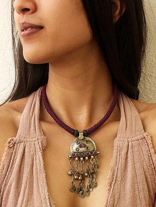 Purple Silver Tone Vintage Handcrafted Necklace