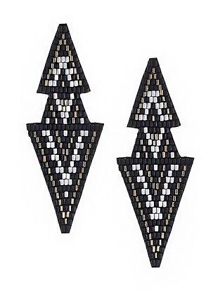 Black-White Beaded Hand Embroidered Earrings