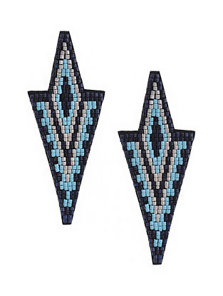 Multicolored Beaded Hand Emboridered Earrings