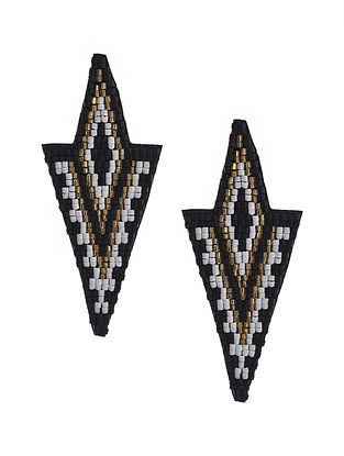 Black-Golden Beaded Hand Embroidered Earrings