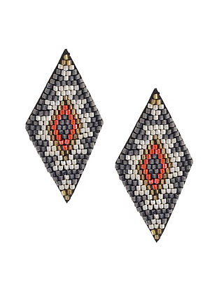 White Grey Beaded Hand Embroidered Earrings