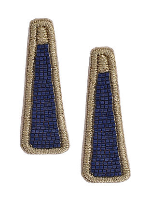 Golden Blue Beaded Hand Embroidered Earrings