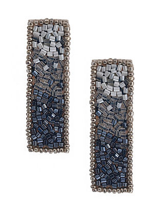 Silver Beaded Hand Embroidered Earrings