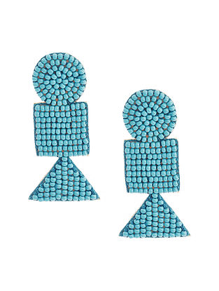 Blue Beaded Hand Embroidered Earrings