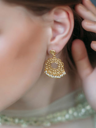 Delicate Desire Gold-plated Brass Earrings with Pearls