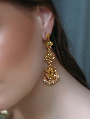 Forever Sunshine Gold-plated Brass Earrings with Pearls