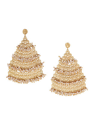 Ornate Dreams Gold-plated Brass Earrings with Pearls