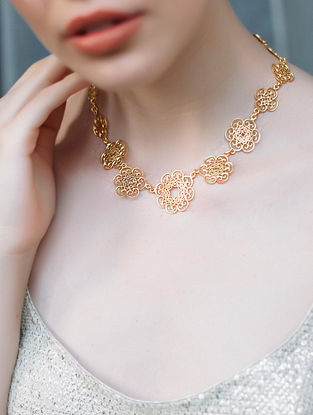 Fleeting Love Gold-plated Brass Necklace with Pearls