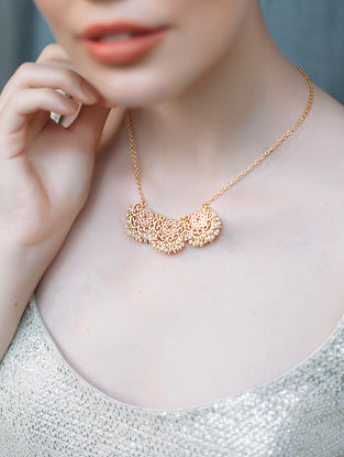 Delicate Muse Gold-plated Brass Necklace with Pearls