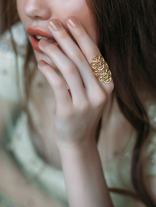 Paint My Love Gold-plated Brass Adjustable Ring