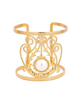 Gold Tone Handcrafted Cuff with Pearl