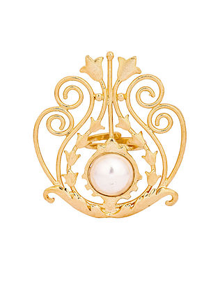 Gold Tone Handcrafted Ring with Pearl