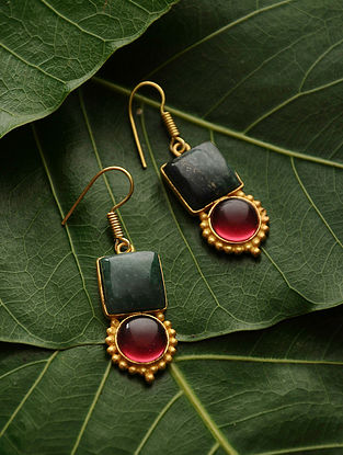 Green-Red Gold Tone Quartz Earrings