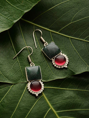 Green-Red Silver Tone Quartz Earrings