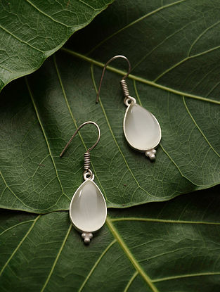 Grey Silver Tone Moonstone Earrings