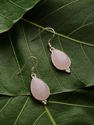 Pink Silver Tone Chalcedony Earrings
