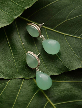 Aqua Green Silver Tone Chalcedony Earrings