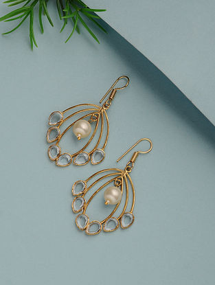 Gold Plated Handcrafted Earrings with Pearl