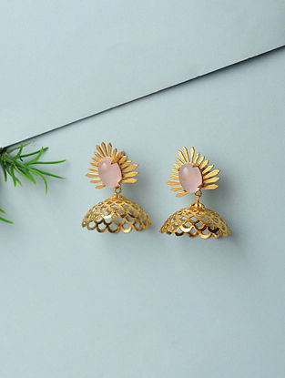 Pink Chalcedony Gold Plated Handcrafted Earrings