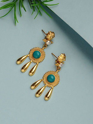 Turquoise Gold Plated Handcrafted Earrings with Pearls