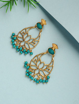 Turquoise Gold Plated Handcrafted Earrings