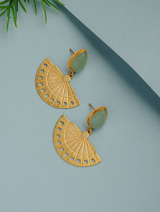 Aqua Chalcedony Gold Plated Handcrafted Earrings