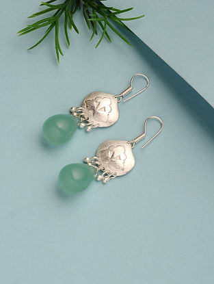 Aqua Chalcedony Silver Plated Handcrafted Earrings
