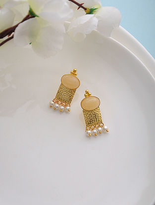 Yellow Aventurine Gold Tone Silver Earrings