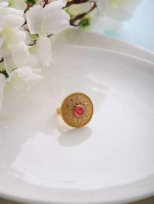 Red Quartz Gold Tone Adjustable Silver Ring