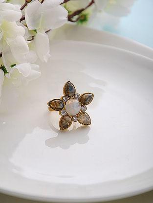 Labradorite and Moonstone Gold Tone Adjustable Silver Ring