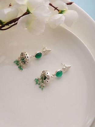 Green Onyx Silver Jhumkis