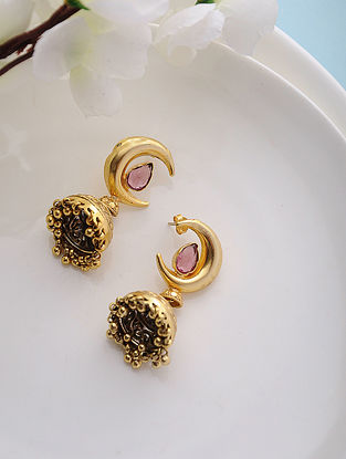 Red Hydro Gold Tone Silver Jhumkis