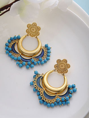 Blue Enameled Turquoise Gold Tone Silver Earrings