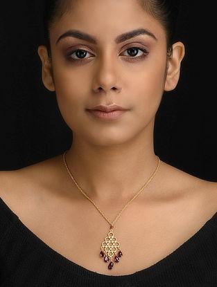 Garnet Gold Tone Silver Necklace